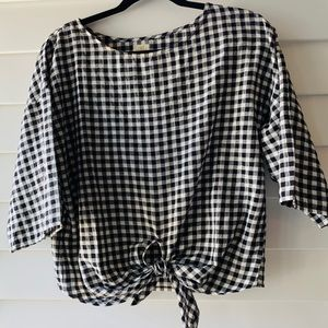 O'Neil black white gingham tie top small S NWOT
